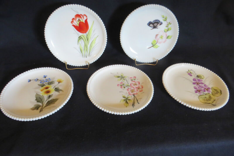 "Westmoreland Glass Plate (s) Beaded Edge H.P. Flowers (5)  7.5""   *"