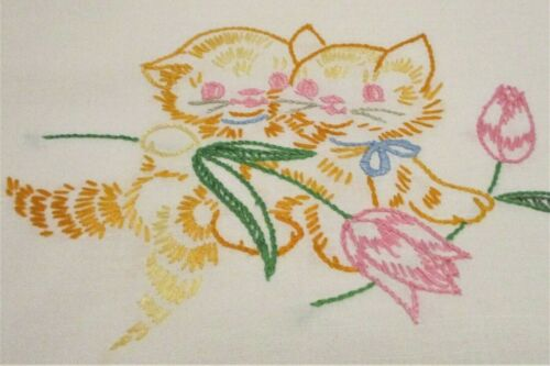 """Vintage Hand Embroidered Pawsome Kitty Cats & Tulips Table Runner 16-1/2""""x60"""""""