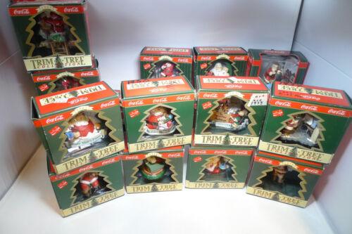 Huge Lot 21 Trim Tree Collection Coca-Cola Santa Ornaments in Original Box 90-98
