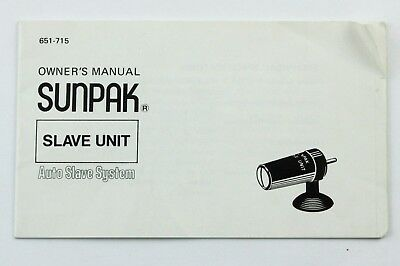 190832 Sunpak Electronic Flash Slave Unit Genuine Original User Instructions - Electronic Slave Unit