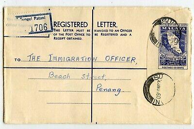 MALAYA REGISTRATION ENVELOPE 30c SUNGEI PATANI TO PENANG 1960            (B813)