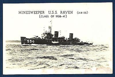 Uss Raven Am 550 Minesweeper Bw Real Photo Postcard