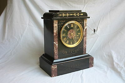 SUPERB FRENCH BLACK SLATE AND MARBLE INLAID ANTIQUE MANTEL CLOCK Japy Freres