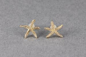 Gold Tone Starfish Sea Life Star Fish Post Stud Textured Earrings 9 16
