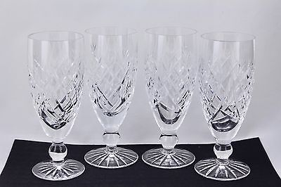 """SET OF 4 WATERFORD CRYSTAL DONEGAL 6"""" FLUTED CHAMPAGNE GLASSES #2 - MINT"""
