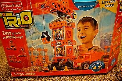 Fisher-Price Trio Bricks Sticks Panels Cargo Loader Playset Crane Dump Truck
