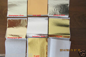 50-sheets-Imitation-GOLD-SILVER-leaf-champagne-gold-silver-leaf-9x9cm-7-colors