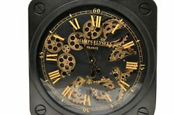 Moving Gear Wall Clock Creative Art Decor Retro Roman Watch Black 19.5