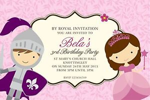 Personalised Birthday Invitations Knight and Princess Party x 5