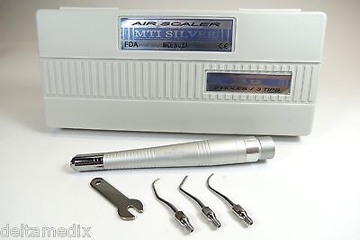 Dental B2 Air Scaler Handpiece Silver 2 Holes With 3 Tips Made In Usa Mti