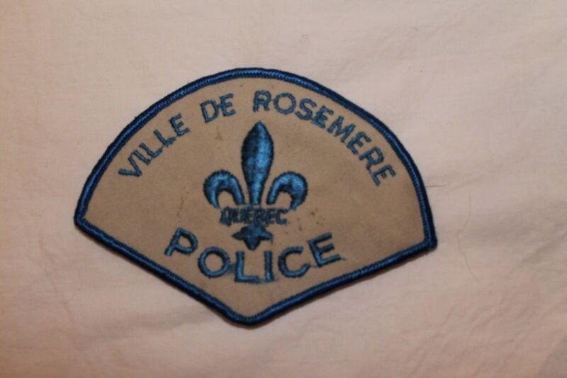 Canadian Quebec Ville De Rosemere Police Patch