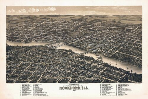 1880 ROCKFORD ILLINOIS panoramic map GENEALOGY poster il48