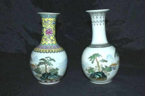 Vintage Chinese Porcelain 2 Vases Hand Painted Marked Red Square Mark