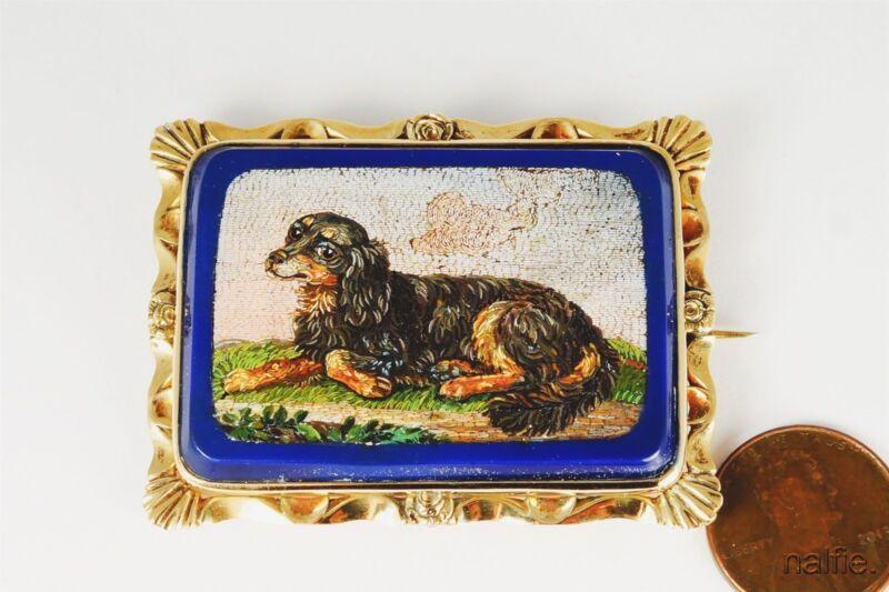 FINE QUALITY ANTIQUE 9K GOLD KING CHARLES SPANIEL DOG MICRO MOSAIC BROOCH c1830