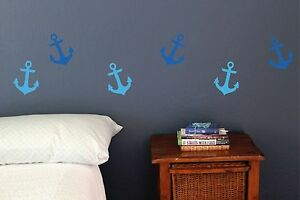 Anchor set of 20 wall decals, Nautical, Pirate, Sailing, Ocean sea life, sticker