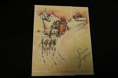 Vintage ART DECO Horse Drawn Coach Christmas Card c. 1930s by: The SUNSHINE LINE