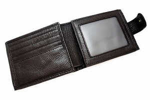 Mens Cow Leather Wallet 20 Credit Card Slots with Click Closure 123#Black/Brown