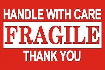 500 3x5 Fragile Handle With Care Shipping Labels Red And White