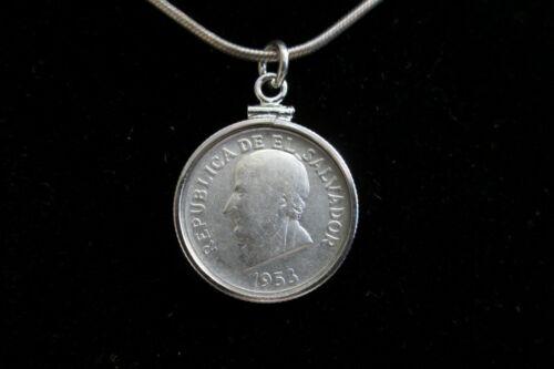 El Salvador Silver Coin Pendant El Salvador Coin Pendant El Salvador Silver Coin