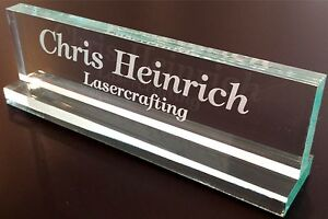 DESK NAME PLATE Personalized - Glass Colored Acrylic - Customized Laser Engraved