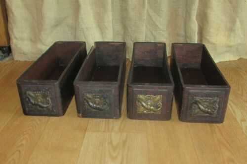 4 Antique Wooden Sewing Machine Drawers Brass Handle Pulls #1235