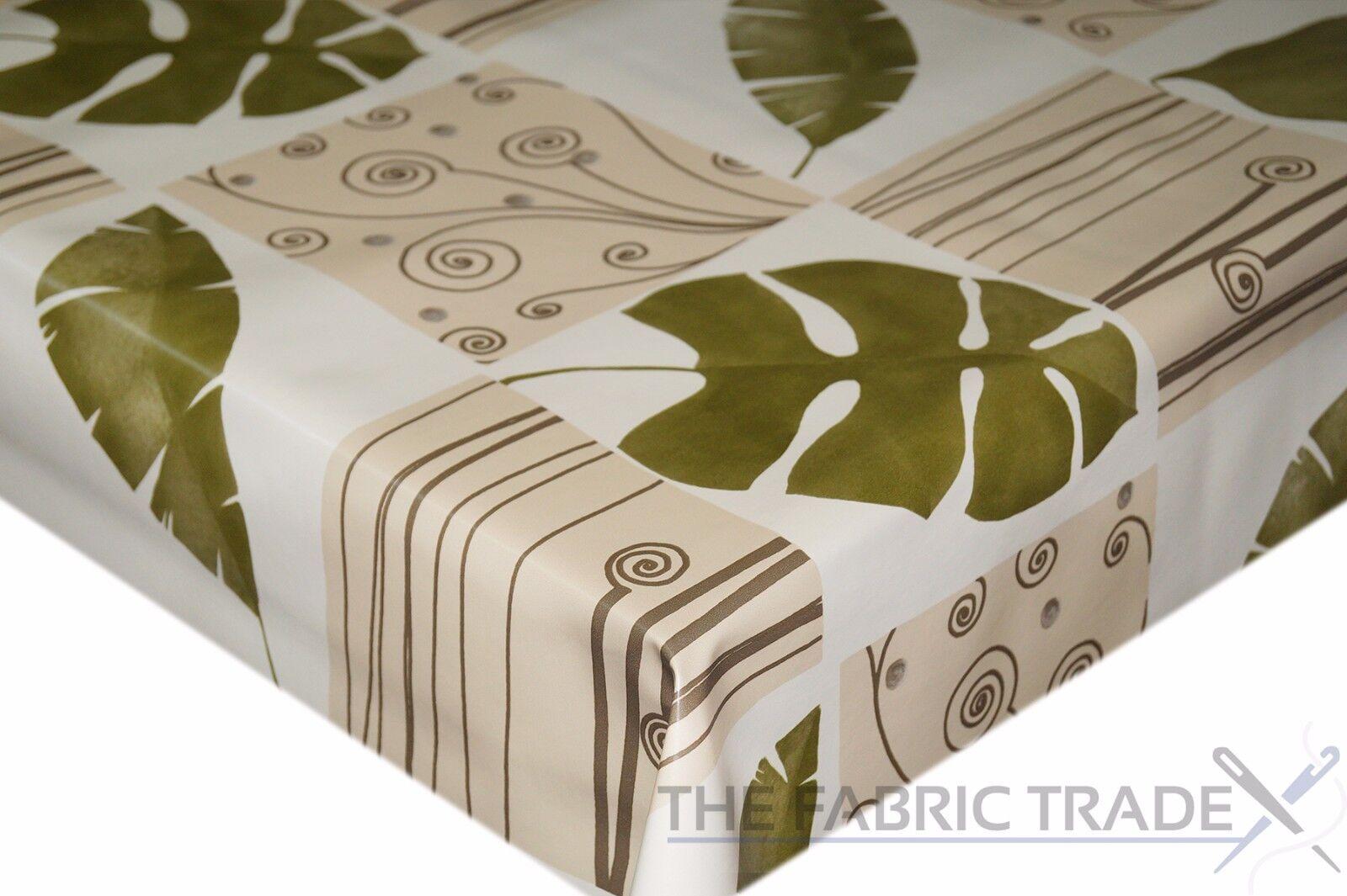 Floral Feuille Orange Patchwork PVC Nappe Vinyle Toile Cirée Cuisine Table de salle à manger