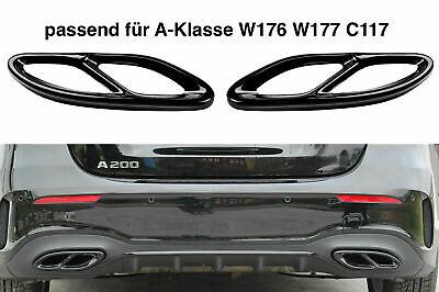 Set Schwarz Chrom Edelstahl Auspuffblende Abdeckung für Mercedes W176 W177 C117