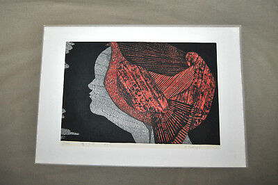 RARE Vintage Shiro TAKAGI Japanese WOODBLOCK Print Lady Bird Signed 7/200 c1972