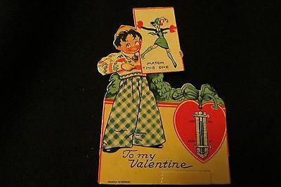 Vintage FLAPPER, Dapper Boy & Thermometer Valentine card c. 1940s - Flapper Boy