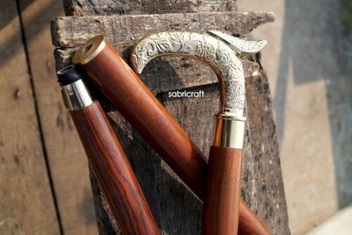 Vintage Designer Brass Antique Victorian Walking Stick Cane Wooden Shaft Cane