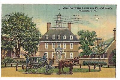 Royal Governors PALACE COLONIAL COACH Williamsburg Virginia Postcard Linen 1942