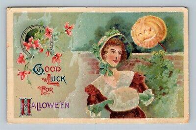 HALLOWEEN Vintage Postcard JOL Victorian Lady Horseshoe - Quincy Illinois c1912