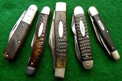 Group #2 of five old CASE parts pocket knives - vintage knife