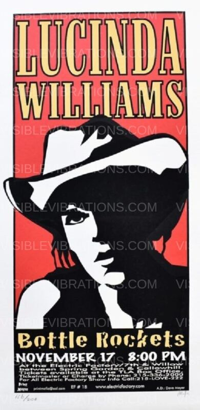 Lucinda Williams Concert Poster 1999 Philadelphia Print Mafia