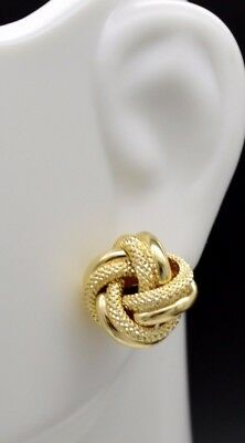 Italian 12mm 14k Yellow Soild Gold Love Knot Textured & polished stud Earrings