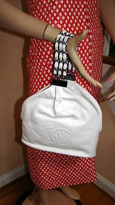 CHANEL NWT Spring 2007 07P White Lamb Bucket Style Bag with Multi-Chain (Chanel New Style Handbag)