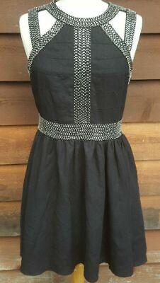 Keepsake The Label Cut Out Black Dress Sz M Fit Flare Elegant Beading RRP$89.97