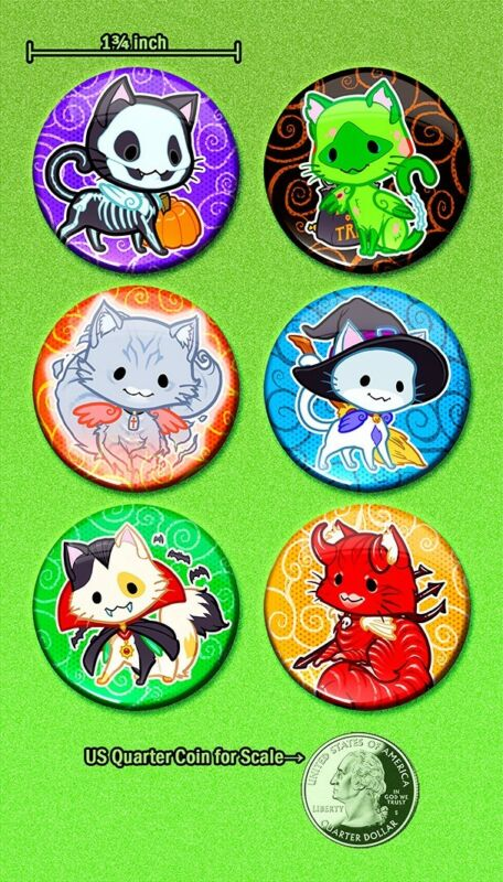 """Halloween Cute Winged Cats 1.75"""" Pin-Backed Buttons Set of 6 Direct from Artist!"""