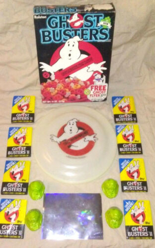 1985 Ralston GHOSTBUSTERS 1ST ISSUE Cereal Box Bundle Lot w/ extra bonus items!