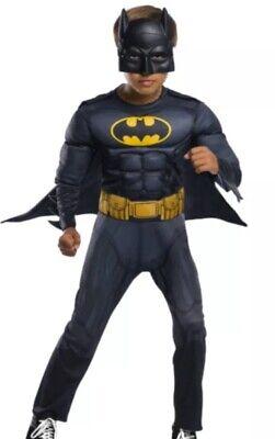 Boys Batman Costume Kids L (12-14) DC Comics Superhero Padded Muscle Chest NEW