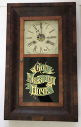 "Antique New Haven 30 Hr. Og Wall Clock ""Serviced"" God Bless Our Home"
