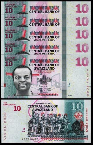 Swaziland 10 Emalangeni 2015, UNC , 5 Pcs LOT , Consecutive , P-41, Vision 2022