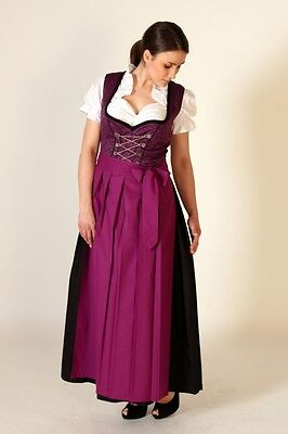 neu 3tlg dirndl lang trachtenkleid. Black Bedroom Furniture Sets. Home Design Ideas