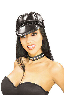 Cats in Black Leather Cap Biker Girl Dress Up Halloween Adult Costume Accessory - Cats Dressed Up In Halloween Costumes