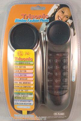 Black Wall Desk Corded Slim HOME TELEPHONE Landline Lighted Flashing LED Ringer