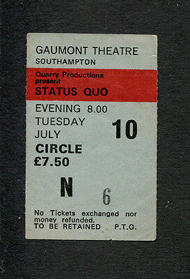 1980 Status Quo concert ticket stub Southampton UK Just Supposin Matchstick Men