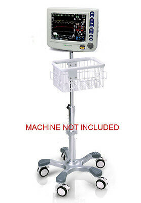 Rolling Roll Stand For Csi Criticare 8100h Ncompass Monitor Big Wheel New