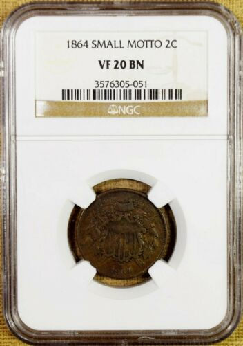 1864 Small Motto NGC VF20 Two Cent Piece - Key Date