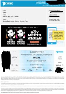 Drake Concert - Boy Meets World STANDING GA 8th November