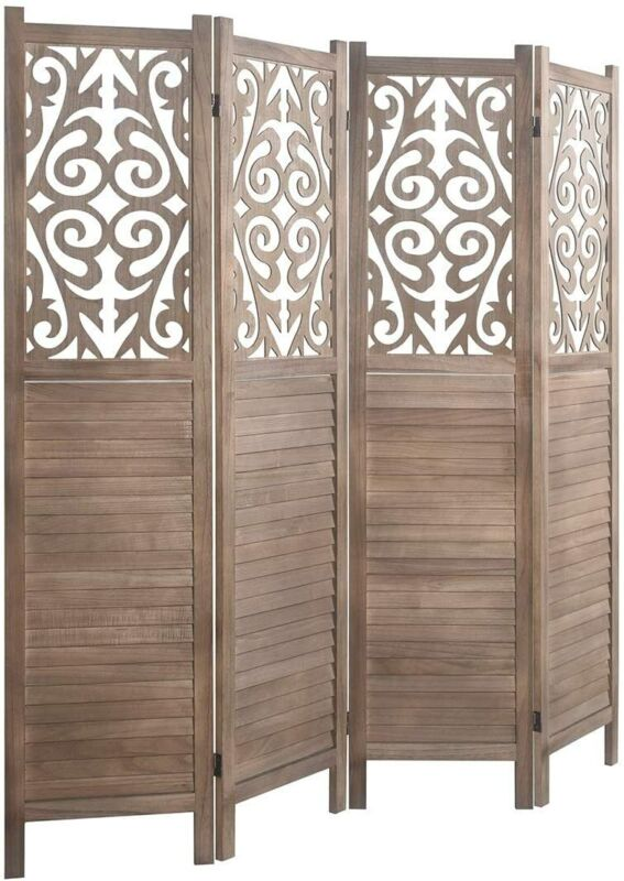5.6 Ft Cutout Room Divider Double Hinged Folding Privacy Screens Free Standing